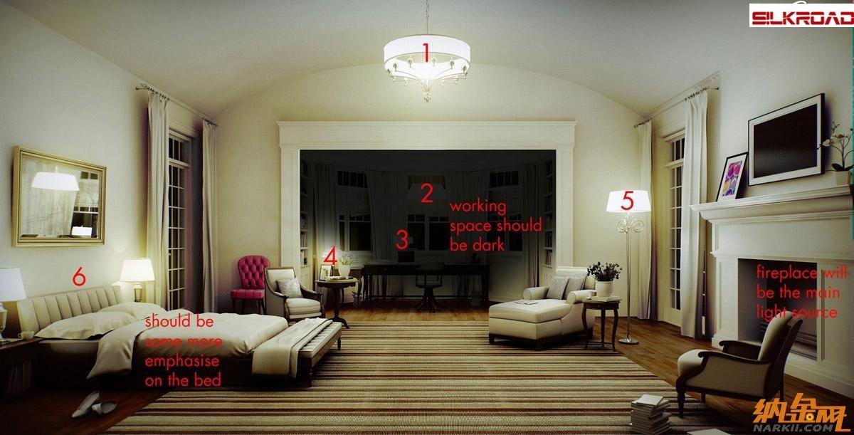 3dmax vray室内夜景灯光渲染教程 高清图片