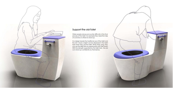 Support-The old-Toilet
