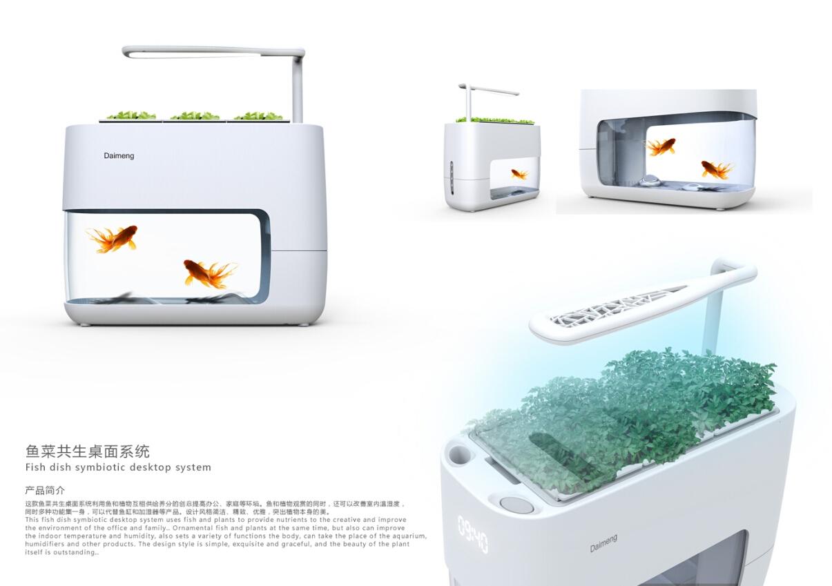 待萌桌面微生态系统鱼缸智能生态循环多功能负离子空气净化鱼花