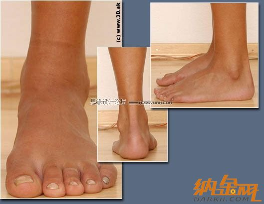 接着分配好布线结构,用一个横截面的图表现脚踝后面边的位置.-
