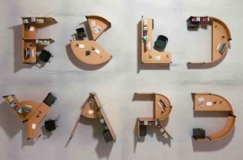 创意字母办公桌-工业创意设计