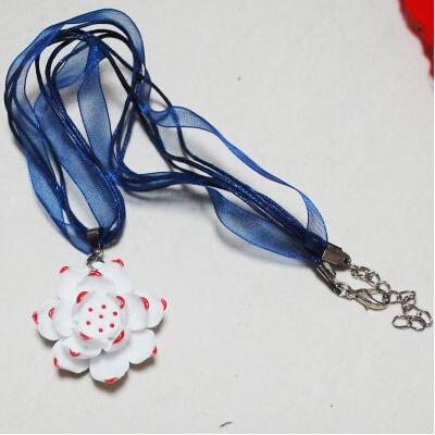 手工原创陶瓷荷花项链