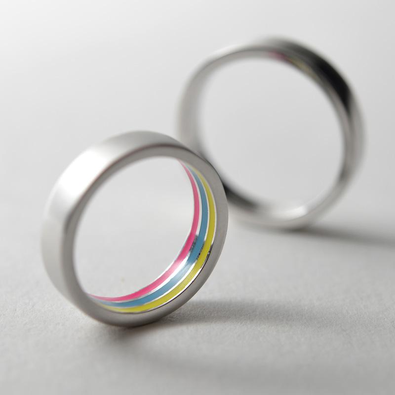 彩虹情侣创意戒指
