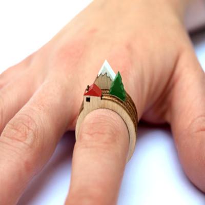 迷你景色创意戒指