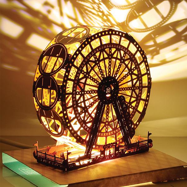 摩天轮带灯新年贺卡创意台灯