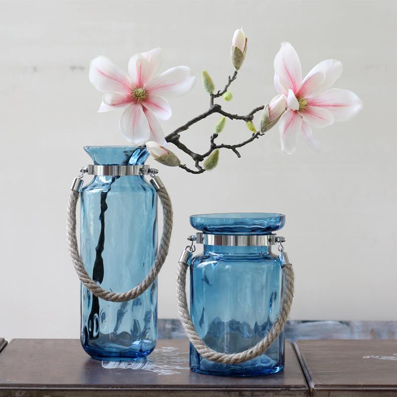 蓝色圆点麻绳金属装饰花瓶
