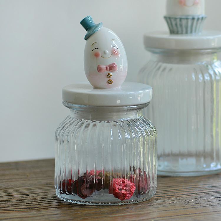 蛋形情侣兔玻璃储物罐