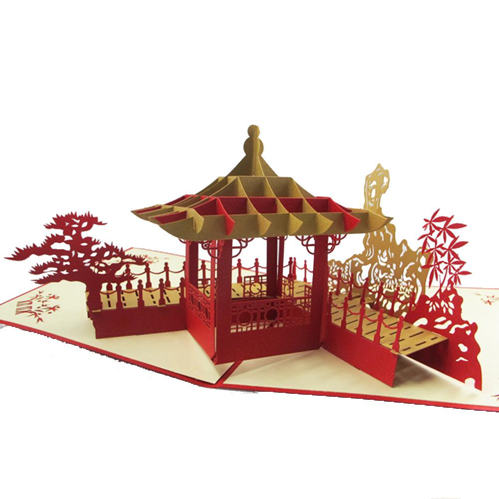 旅游纪念3D立体剪纸贺卡