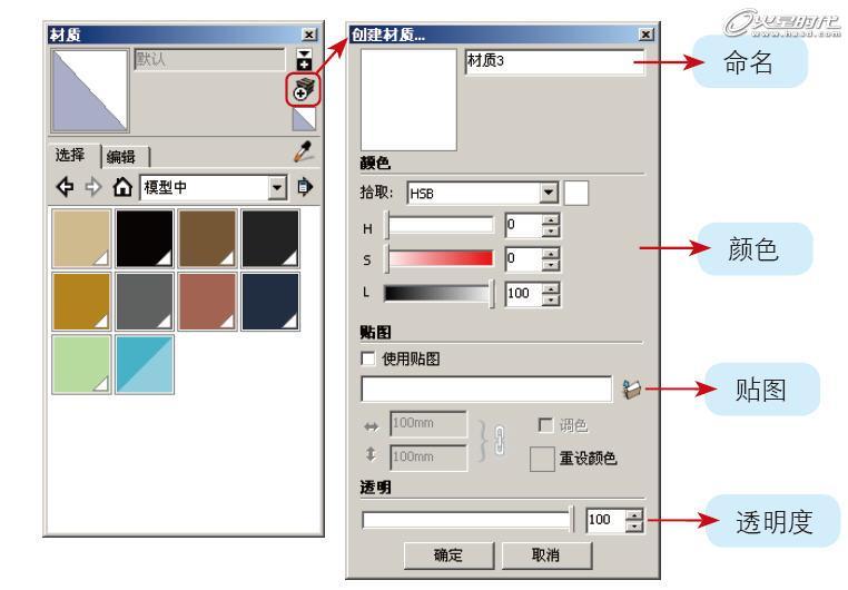 图10 创建并编辑新材质