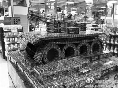 超市创意陈列:牙膏变坦克