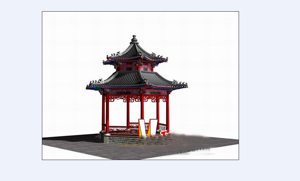 中式古建六角亭3d模型下载