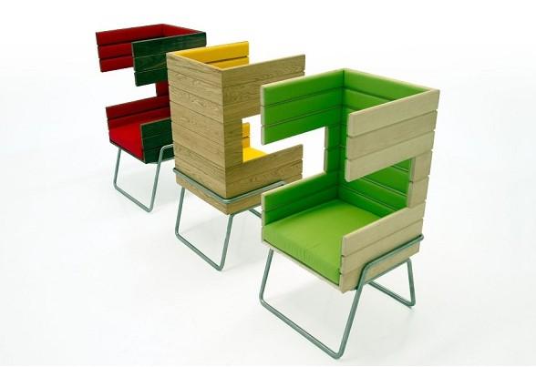 椅子由三种不同的木板制作