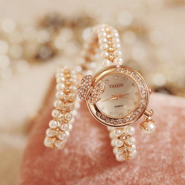 镶钻珍珠手链手表1