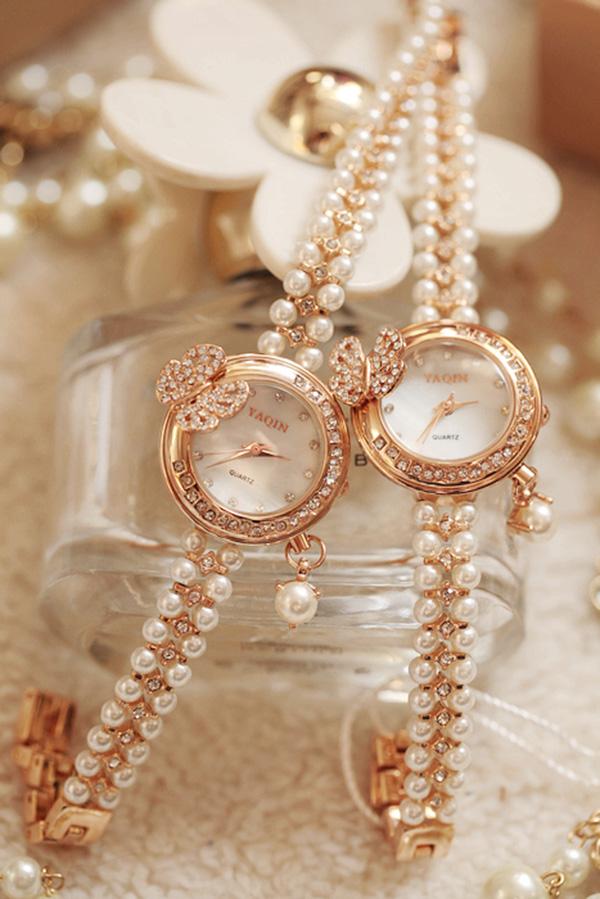 镶钻珍珠手链手表2