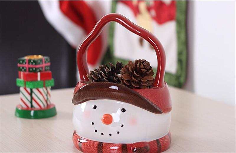 圣诞雪人陶瓷篮子4
