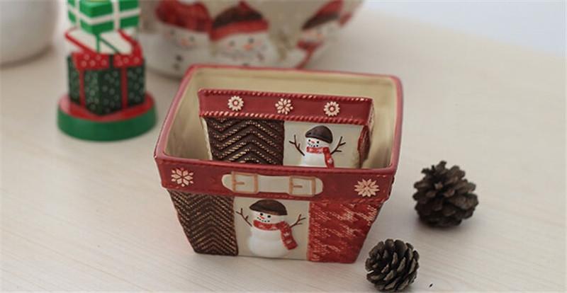 圣诞雪人陶瓷篮子2