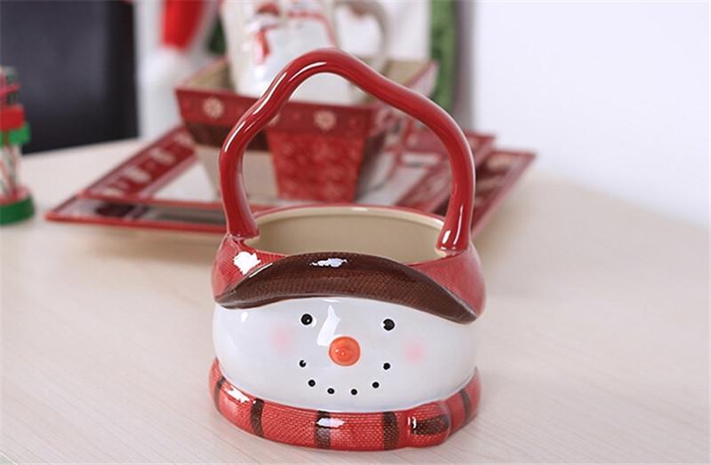 圣诞雪人陶瓷篮子3