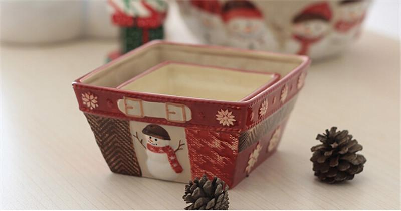 圣诞雪人陶瓷篮子1
