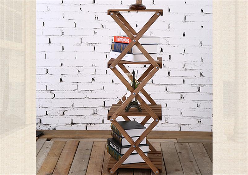 简易四层折叠创意隔板实木书架4