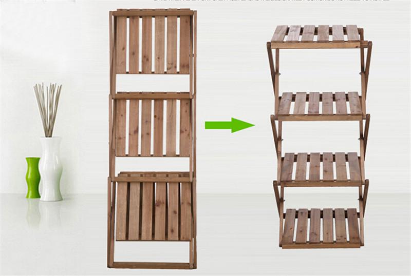 简易四层折叠创意隔板实木书架2