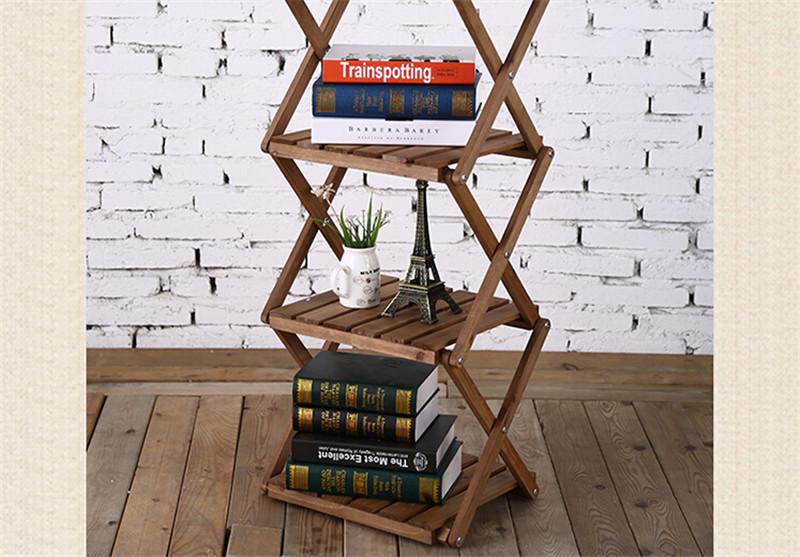 简易四层折叠创意隔板实木书架3