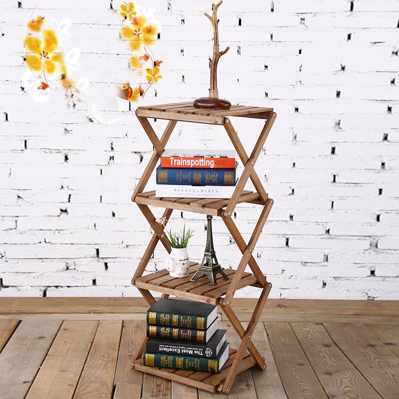 简易四层折叠创意隔板实木书架1