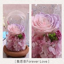 进口永生花礼盒玻璃罩保鲜花母亲节礼物生日