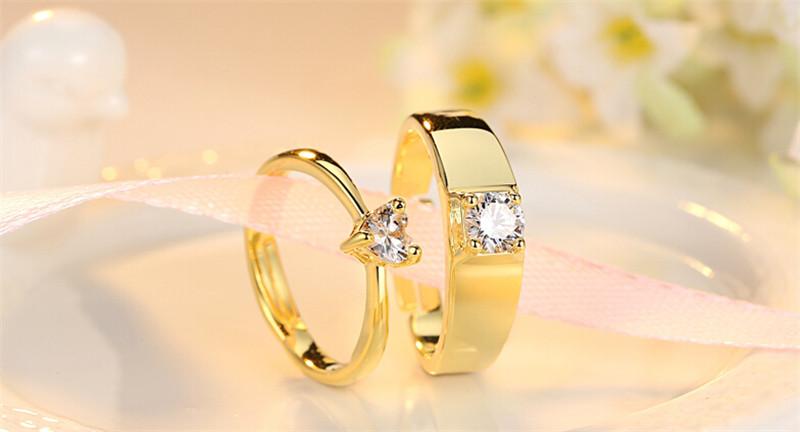 仿真黄金钻石创意情侣结婚戒指1