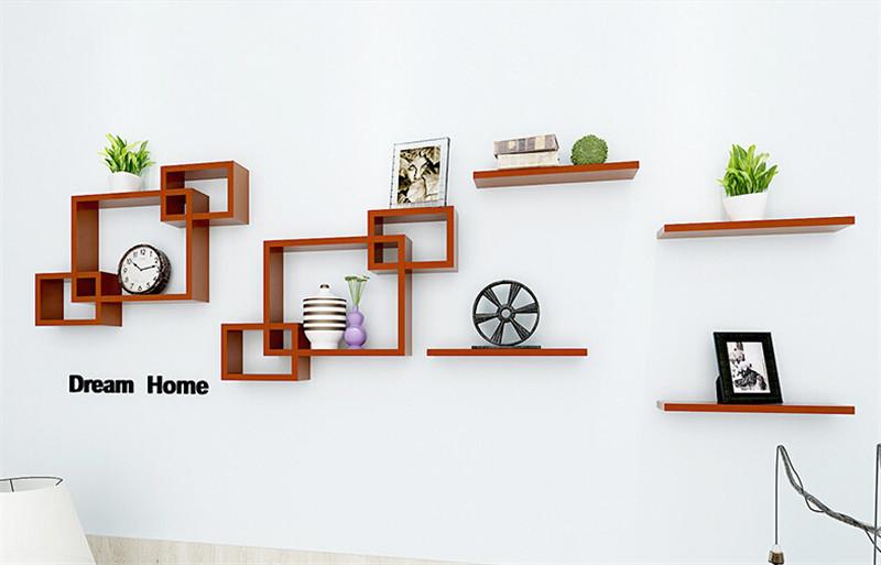 实木墙上壁挂搁板客厅墙壁书架1
