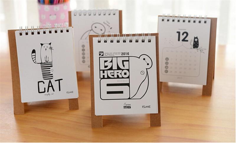 创意可爱卡通大白迷你桌面台历