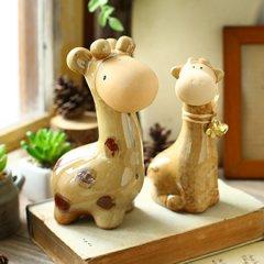 zakka创意可爱动物桌面陶瓷装饰品摆件少女房间客