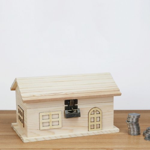 实木小房子带锁存钱罐创意生日礼物