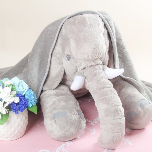 创意宜家大象安抚毯子抱枕