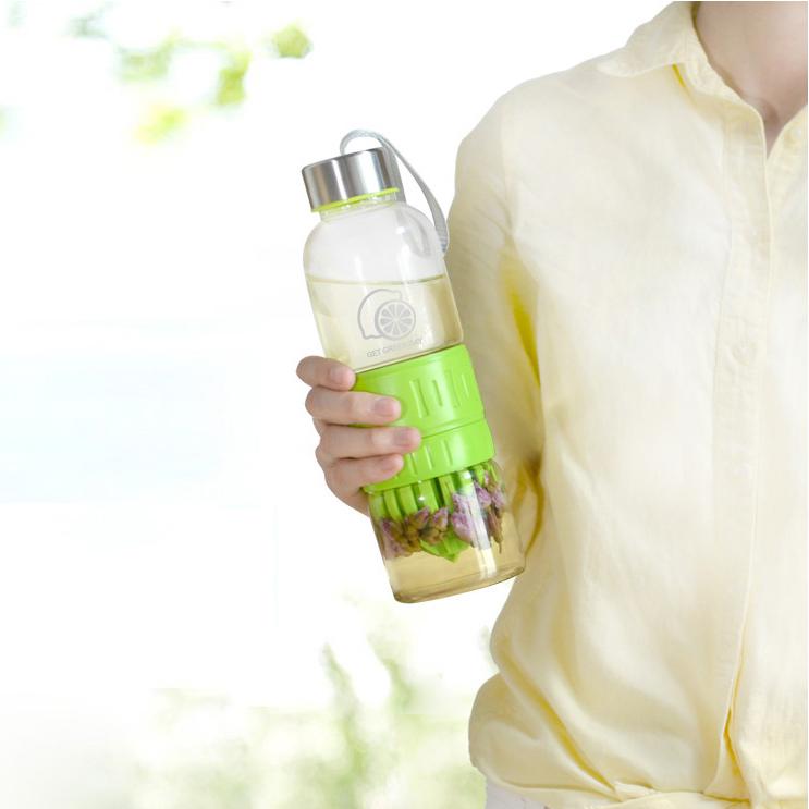 创意耐热便携榨汁玻璃瓶杯子1