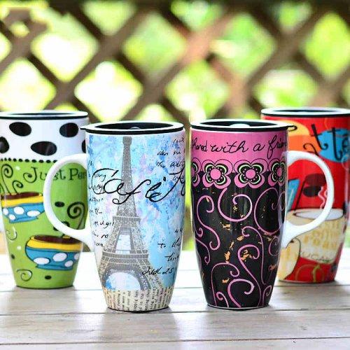 左米彩绘水杯陶瓷创意马克杯