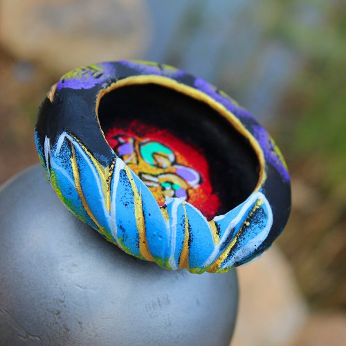 云南黑陶民族风创意烟灰缸