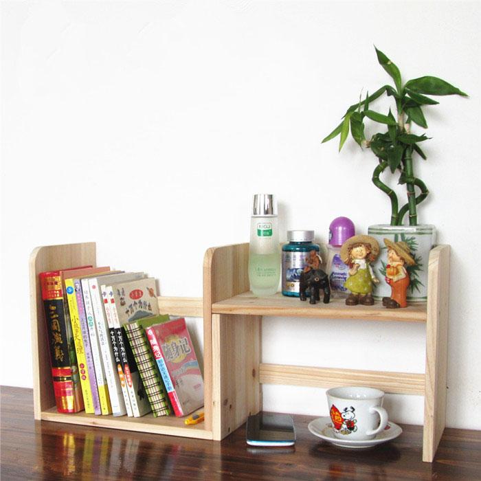 创意可伸缩全实木旋转隔板书架1