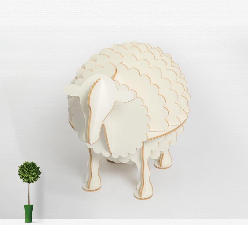 儿童房卧室欧式创意绵羊多功能木质书架