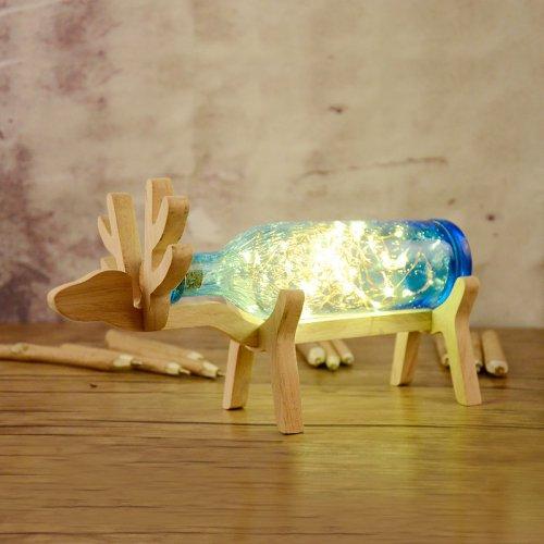 原木小鹿发光夜瓶夜灯