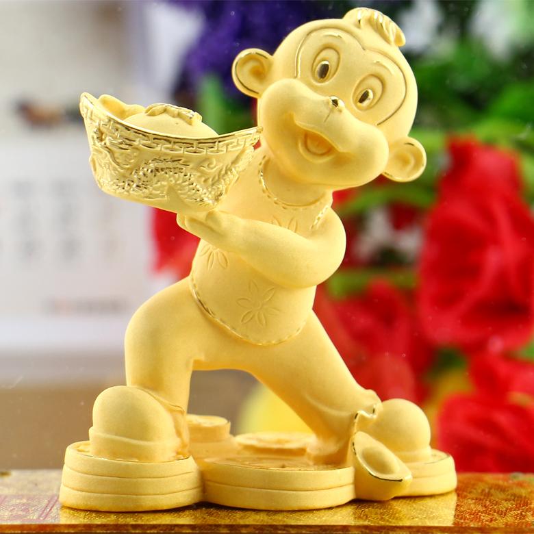 绒沙金猴年贺岁吉祥物生肖猴子摆件4