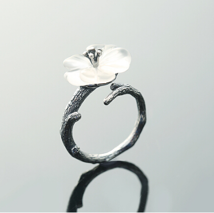 原创山荷花之吻925创意戒指