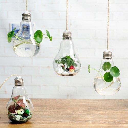 悬挂灯泡创意玻璃花瓶透明水培花瓶玻璃花器