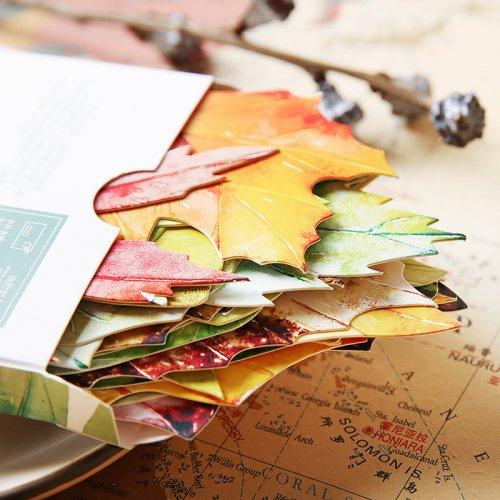 一叶信纸明信片手绘古风景异形文艺创意