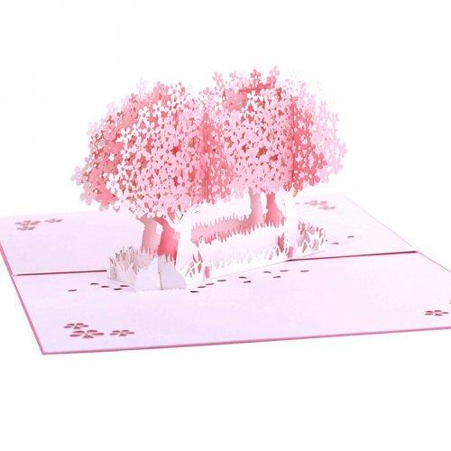 韩国创意3D立体手工中秋节樱花纸雕小卡片