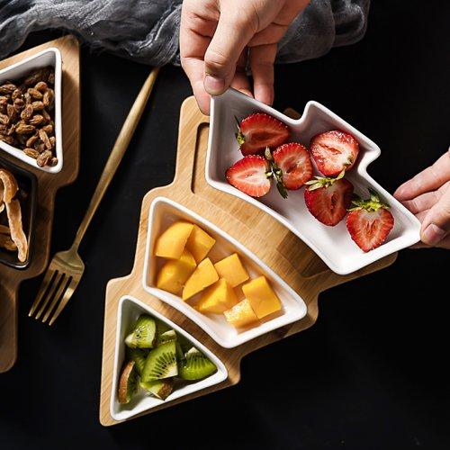 北欧创意竹木圣诞树果盘家用餐具