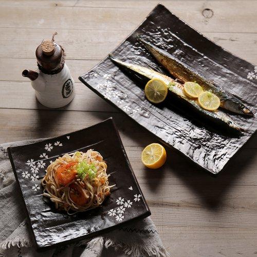 创意日式和风粗陶樱花手绘陶瓷餐具
