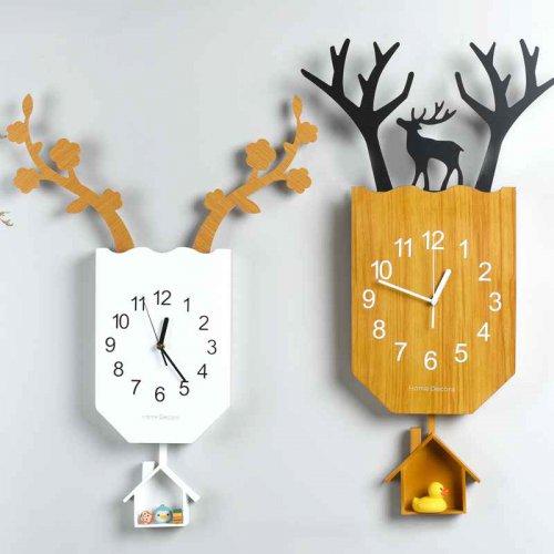 北欧装饰鹿挂钟个性创意艺术时尚木钟表