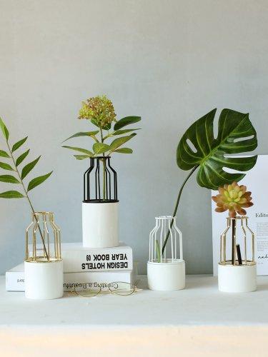 北欧风金色铁艺陶瓷花瓶