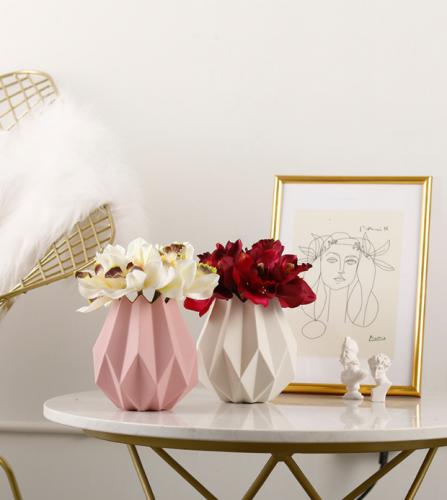 北欧风格折纸陶瓷花瓶摆件家居装饰品