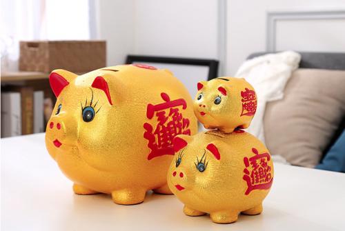 陶瓷金猪创意储蓄罐
